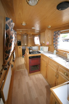 The kitchen area on the ABC class canal boats