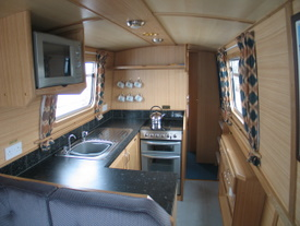 The kitchen on the CBC class canal boat
